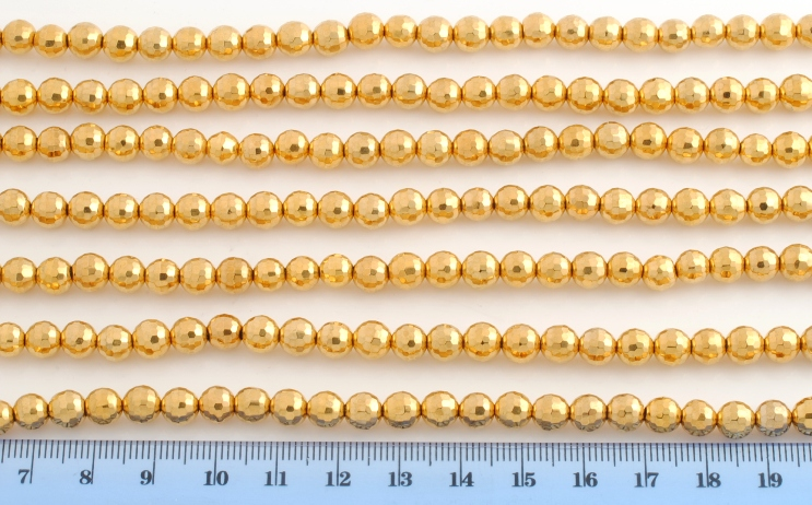 14KT GOLD PLATE AGATE FACETED BEAD 6MM 128FACES