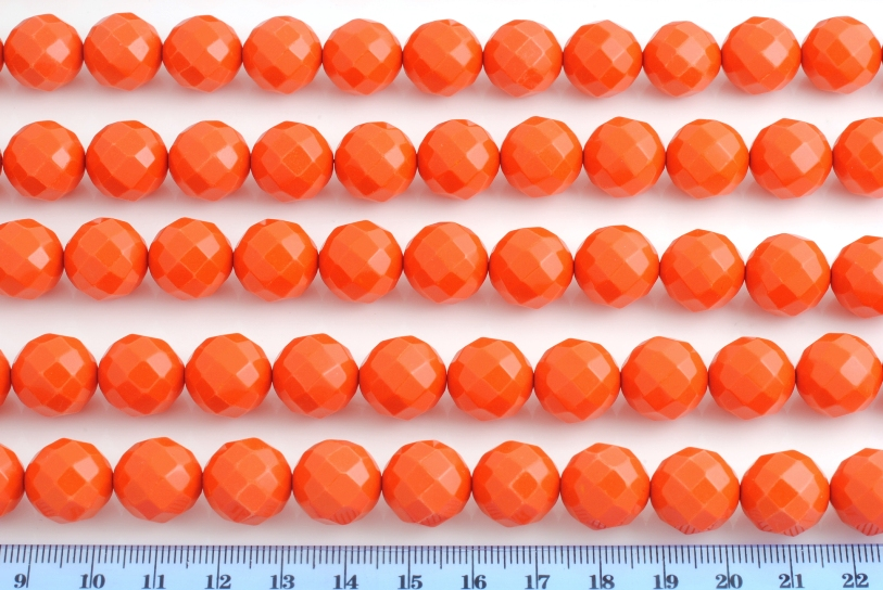 ARTIFICIAL ORANGE CORAL FACETED BEAD 14MM 64FACES