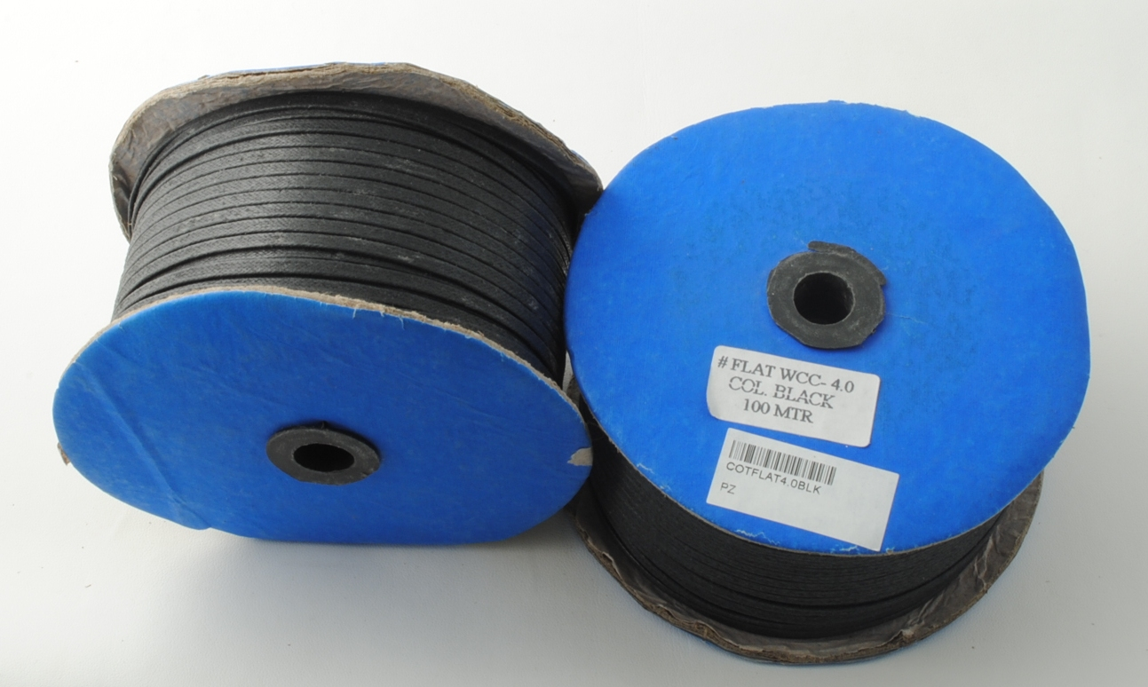 FLAT WAXED COTTON CORD 4X1.2MM X 100MT BLACK COLOR