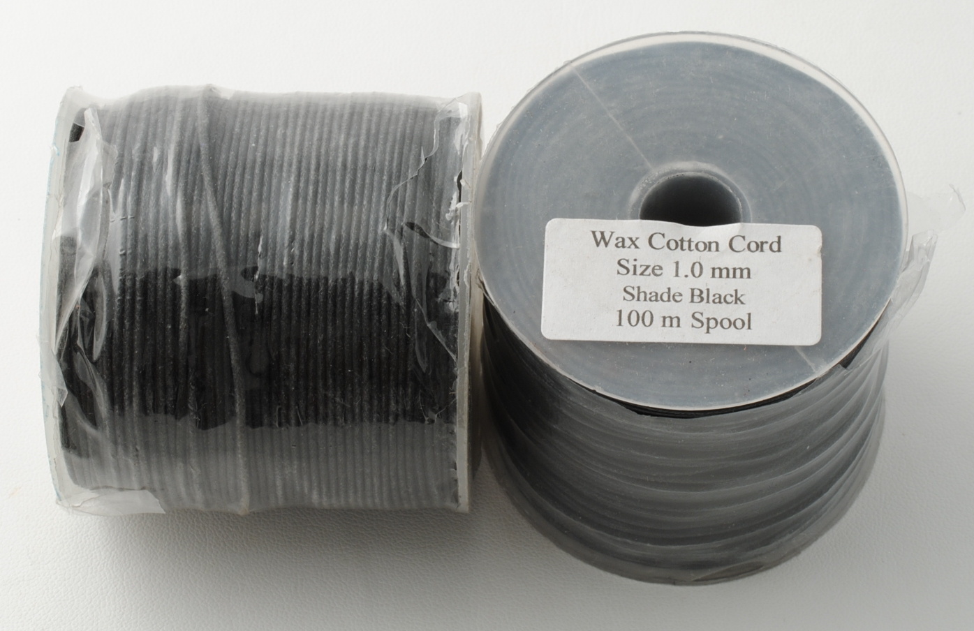 WAXED COTTON CORD 1MM X 100MT BLACK COLOR