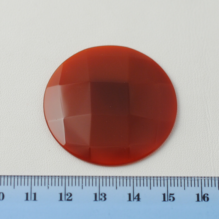 RED AGATE FACETED ROUND CAB 40MM