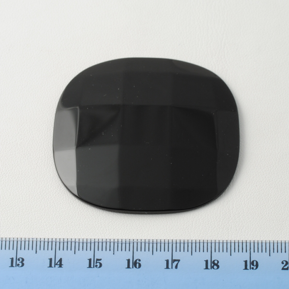 BLACK ONIX FACETED CUSHION CAB 50X50MM