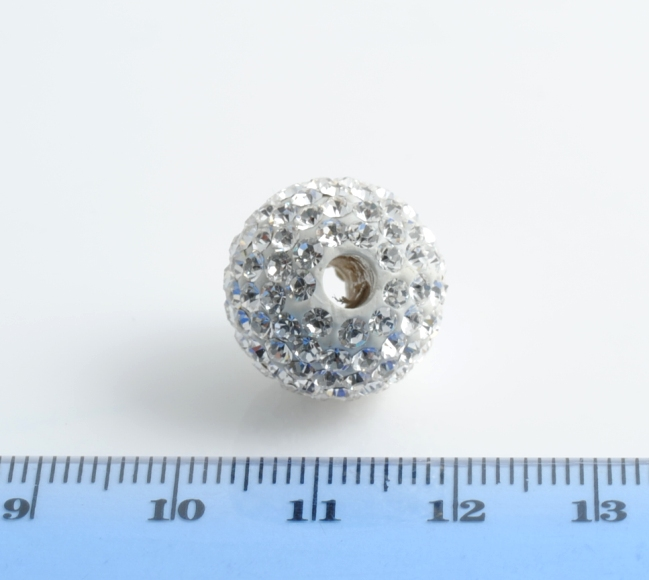 PALLINA STRASS BIANCO CRYSTAL 16MM FORO DA 4MM
