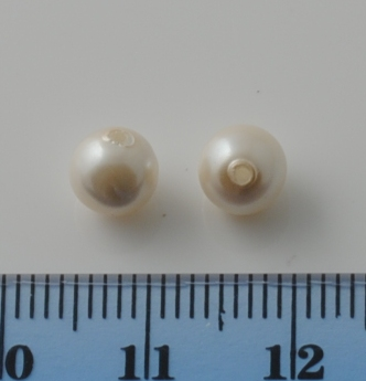 BAROQUE GLASS BASE PEARL WHITE 06MM HALF HOLE