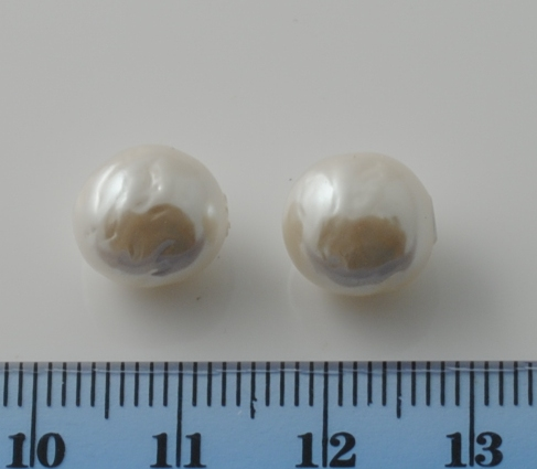 BAROQUE GLASS BASE PEARL WHITE 10 MM HALF HOLE