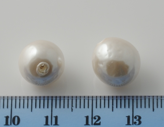 BAROQUE GLASS BASE PEARL WHITE 12MM HALF HOLE
