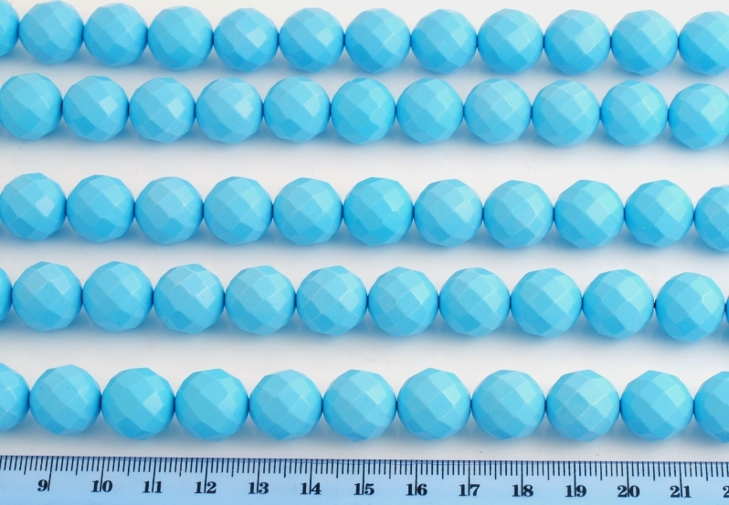 ARTIFICIAL TURQUOISE PASTE FACETED BEAD 14MM 64 FACES