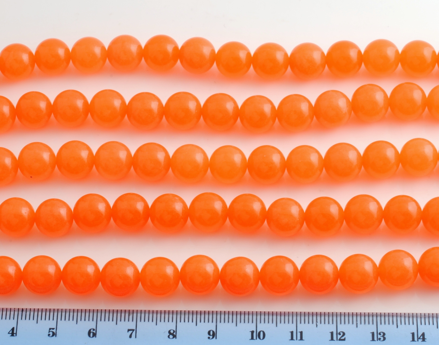 ORANGE JADE SMOOTH BEAD 10MM