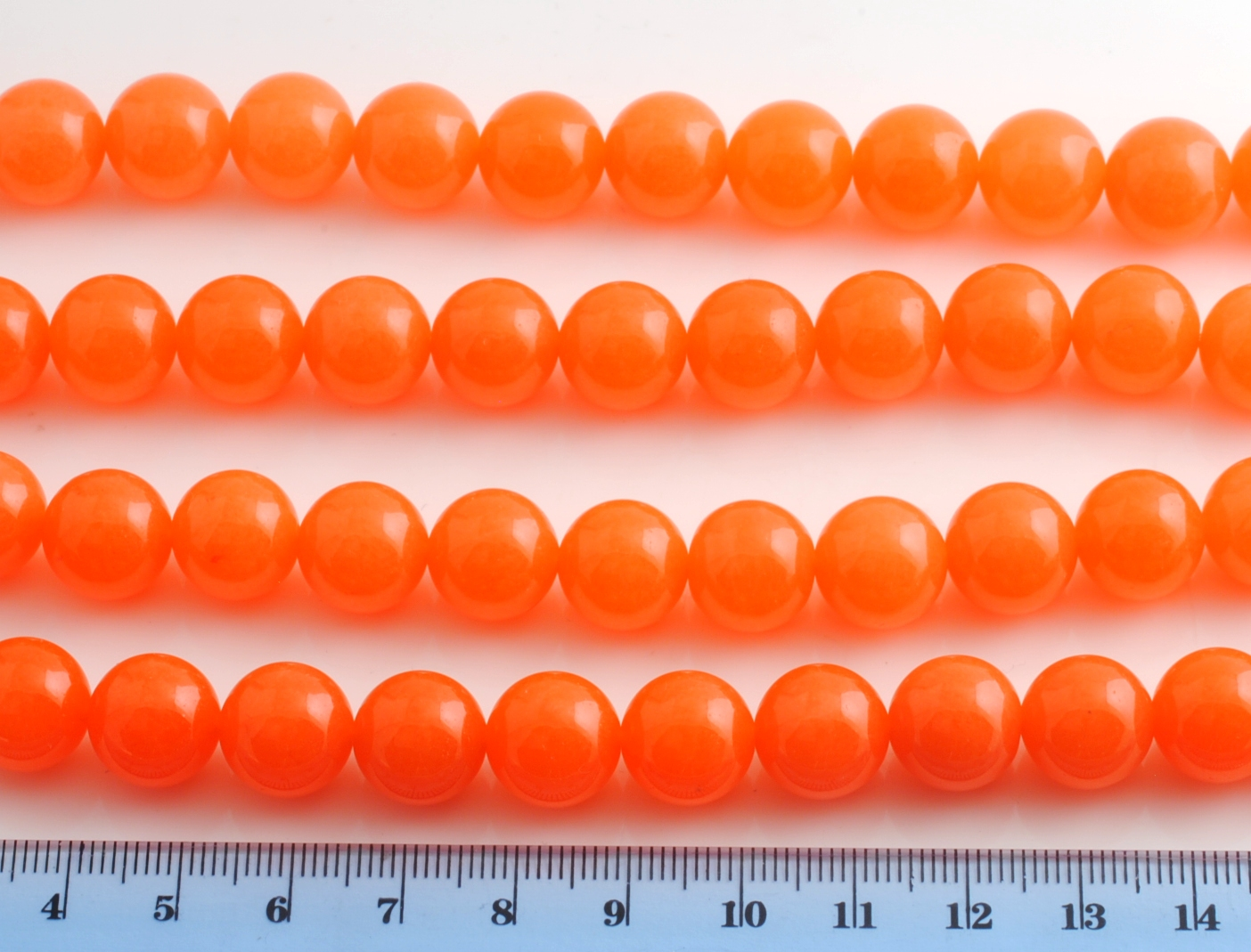 ORANGE JADE SMOOTH BEAD 12MM