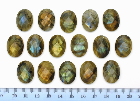 LABRADORITE FACETED OVAL CABOCHON 15X20MM
